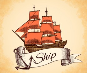 Retro ship hand drawn vector material 01