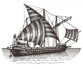 Retro ship hand drawn vector material 02