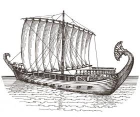 Retro ship hand drawn vector material 03