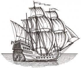 Retro ship hand drawn vector material 04