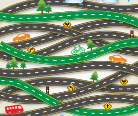 Road Traffic schematic vector template 01
