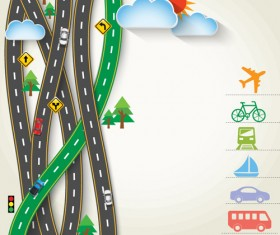 Road Traffic schematic vector template 02
