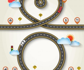 Road Traffic schematic vector template 05