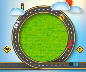 Road Traffic schematic vector template 06