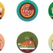 Round foods icons vector material
