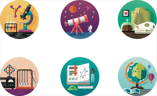 Round Science Icons Vector Set Over Millions Vectors