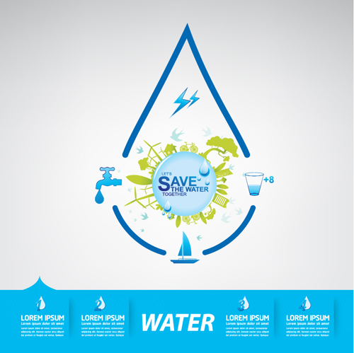 Save Water Infographics Template Vector 15 Free Download