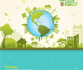 Save world Eco infographics template vector 04