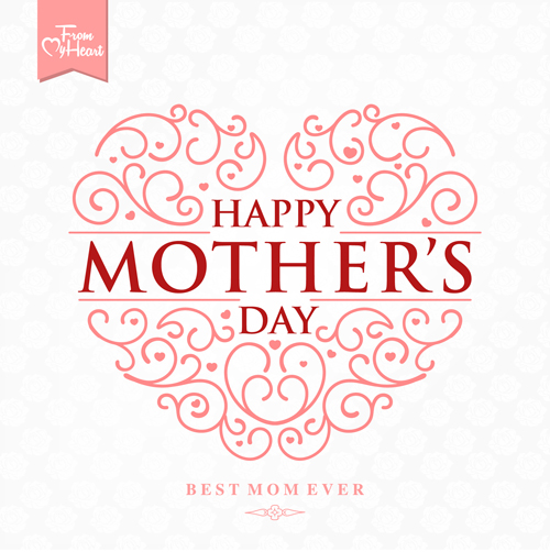 Set Of Happy Mothers Day Art Background Vector 03