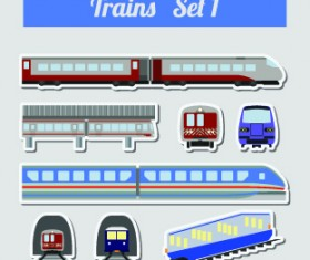 Set of transportation stickers vector material 01
