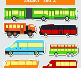 Set of transportation stickers vector material 02