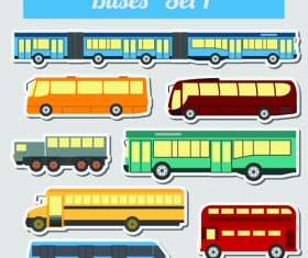 Set of transportation stickers vector material 03