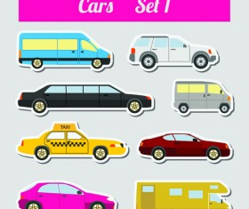 Set of transportation stickers vector material 04