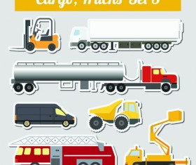 Set of transportation stickers vector material 05