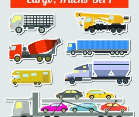 Set of transportation stickers vector material 07