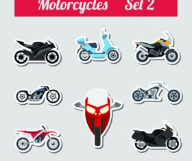 Set of transportation stickers vector material 08