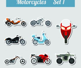 Set of transportation stickers vector material 09