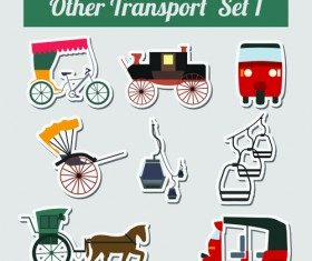 Set of transportation stickers vector material 10