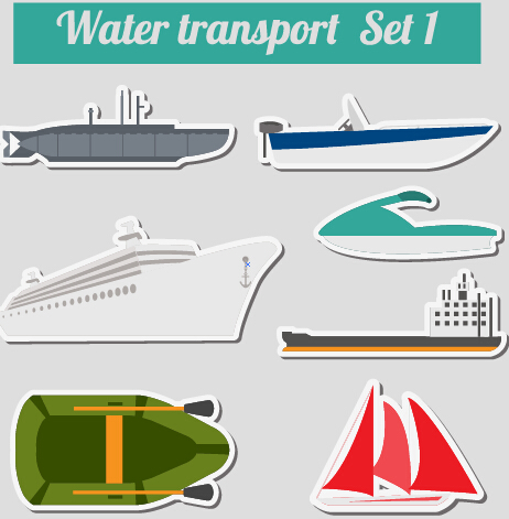 Set of transportation stickers vector material 12