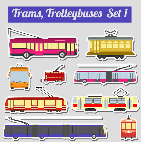Set of transportation stickers vector material 13