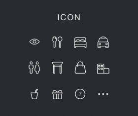 Simple restaurants and society icons psd