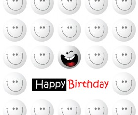 Smile face happy birthday card vector