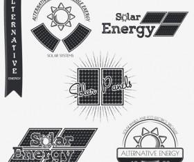Solar energy vintage logos vector material 01