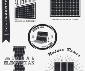 Solar energy vintage logos vector material 02
