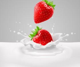 Strawberries with milk vector backgrounds 01