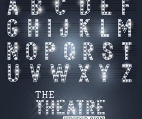 Theatre neon light alphabet vector material 01