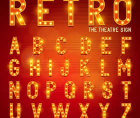 Theatre neon light alphabet vector material 02