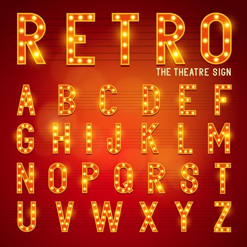 Theatre Neon Light Alphabet Vector Material 02 Free Download
