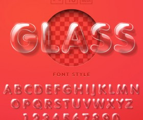 Transparent glass alphabet and number vectors