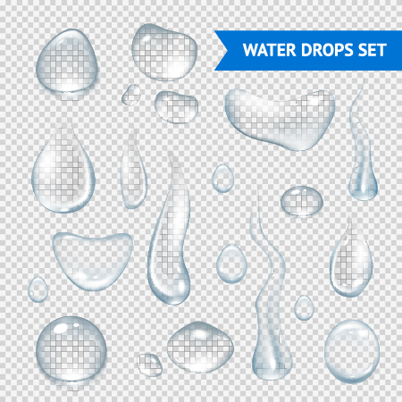 Transparent water drops illustration vector material 01