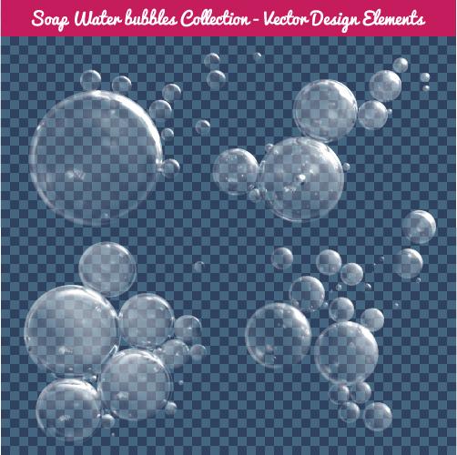 Transparent water drops illustration vector material 04