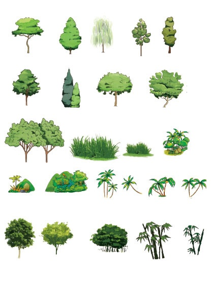 Trees with grass psd material