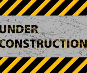 Under construction sign grunge background vector