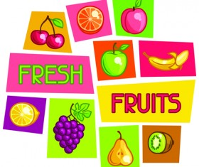 Vector fresh fruit icons material