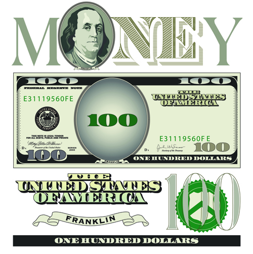 vector money with dollars design template 02