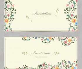 Vintage flower Invitation cards vectors 01