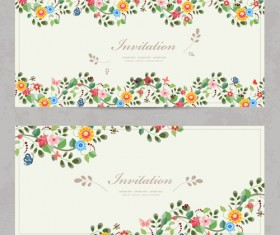 Vintage flower Invitation cards vectors 02