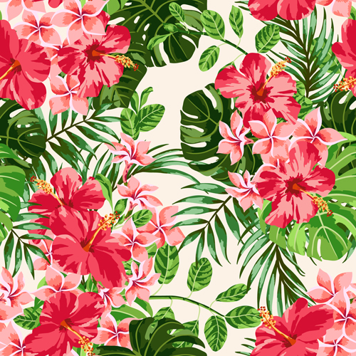 Vintage flowers vectors seamless pattern 01 - Vector ...