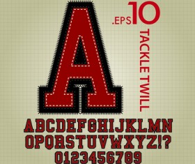 Vintage twill alphabet with numbers vector