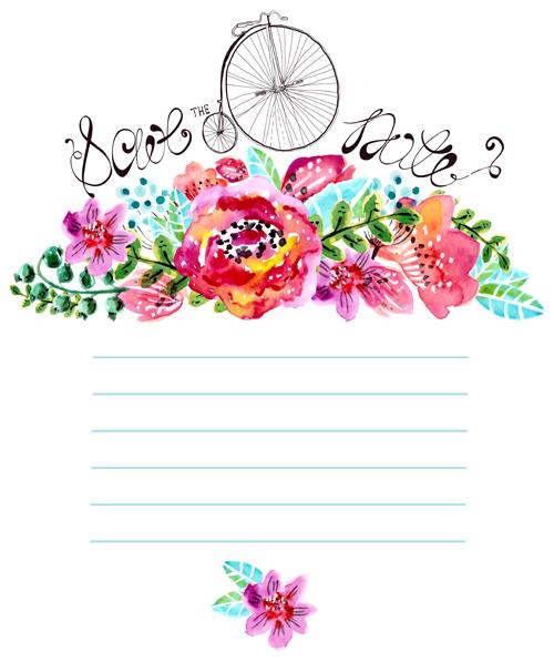 Watercolor Flower Wedding Invitation Vector Graphics 01