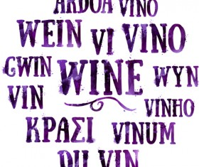 Wine text watercolor vector material