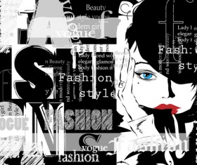 Woman with fashion elements template vector 03