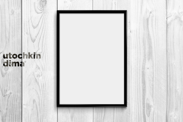 Wooden board with photo frame psd background