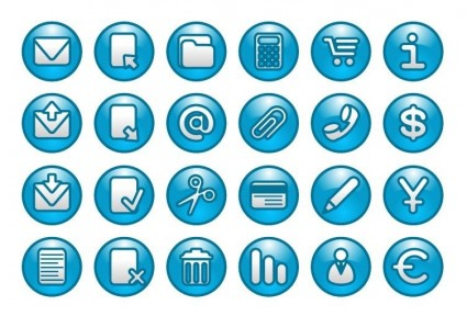 Round blue web buttons icon set vector - Web Icons free download