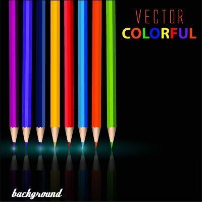 Colorful pencil with black background vector 02