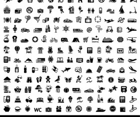 165 Kind icons travel with tourism vector material